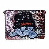 AiSi Damen Pailletten Glitzer modern Clutch/Handtasche/ Damenhandtaschen/Abendtasche/ Umhängetasche/Party-Bag mit PU Leder Schulterriemen Katze Motiv Braun