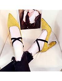 GAOLIM Los Tacones Altos Con Zapatos Gruesos 10Cm Palabra Hebilla Zapatos,35,Amarillo