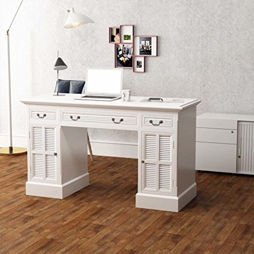 Lingjiushopping Bureau à Double Colonne Blanche 140 x 48 x 80 cmcolore : Blanc Matériau : Panneau MDF et pin
