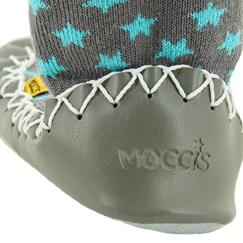 Moccis Stoney River Kind / Junior - Leder Mokassins Hausschuhe Socken Grau
