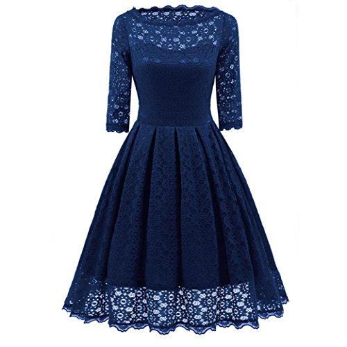 Kleider damen Kolylong® Frauen Elegant Spitze Langarm Kleid Vintage Swing Kleid Knielang Retro Rockabilly Kleid Cocktails Party Kleid Abendkleid Kleid der Brautjungfer (Blau, XXL) (Ruffled Top Lace)