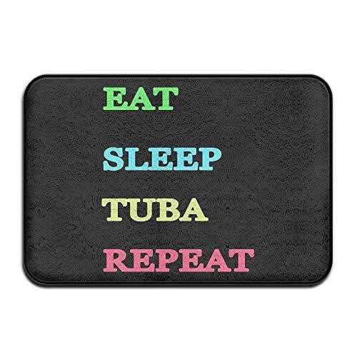 """PdGAmats Eat Sleep Tuba Repeat Non-Slip Outside/Inside Entrance Rug 23.6""""x 15.7"""""""