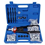 ESYNiC Kit Rivettatrice Professionale con 200pz Rivetti Pistola Rivettata Pistola Manuale a Rivetti Ribattini per Riparazione Lavoro su Metallo Legno Plastica