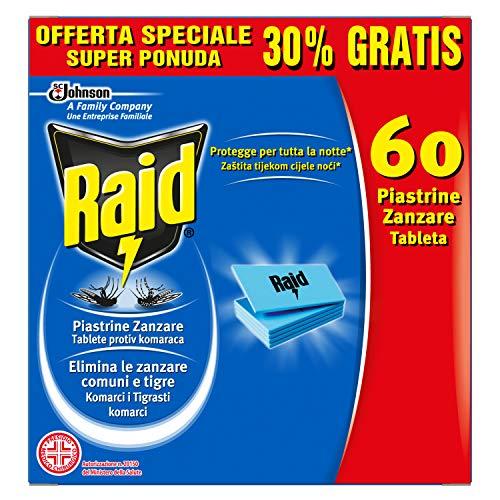 Raid Plaquettes anti-moustiques Recharge - 3 boîtes de 60 pièces [180 pièces]