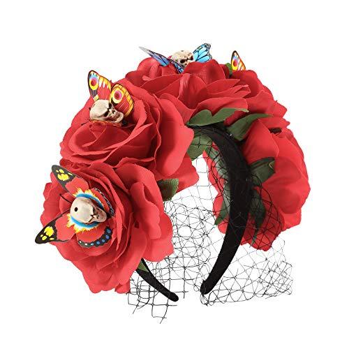 AWAYTR Halloween Blume Krone Festival Kopfschmuck - Tag des toten Schleiers Blume Stirnband Halloween Schleier Gothic Kopfbedeckungen Kostüm Party Festival Haargirlande (Rot (Schleier + Schädel))