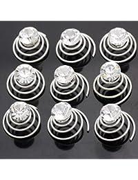 12 Curlies Haarschmuck Hochzeit Silber plattiert mit Kristall 8mm