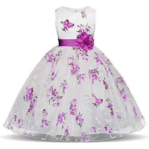 MRURIC Kinder Mädchen Floral Princess Floral Gown Party Tutu-Kleid,Garn Rock modegedruckten Hemd Kleid Kleidung setzen Hemdkleid Baby Kleid Tanzkleidung Ballkleid Partykleid (Für Mit Kostüm Tutus Erwachsene Ideen)