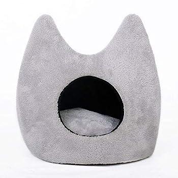 XJKLFJSIU-Cat Animaux de Compagnie Chaton Cave,Oreilles de Lapin en Forme de Peluche Chambre de Chat Mignon,Matelas détachable Confortable, Gris, S-36 * 36 * 46cm