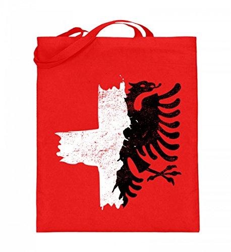 Hochwertiger Jutebeutel (mit langen Henkeln) - Halb Albanien Schweiz Fahne T-Shirt Albanischer Adler Kreuz Schweizer Flagge (Adler Kreuz)