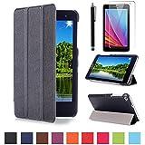 MediaPad T1 7.0 Funda,Negro Ultra-Thin Slim Funda de Cuero de Piel Carcasa para 7'' Huawei MediaPad T1 7.0 Tablet Smart Case Cover con Soporte Function + Protectores de Pantalla + lápiz óptic