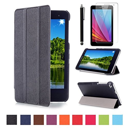 Hülle Kompatibel mit Huawei MediaPad T1 7 Zoll Tasche Etui - Ultra Slim Superleicht PU Leder Tasche Smart Cover Schutzhülle für Huawei Mediapad T1 7.0 Zoll Tablet + Bildschirmschutzfolien & Stylus
