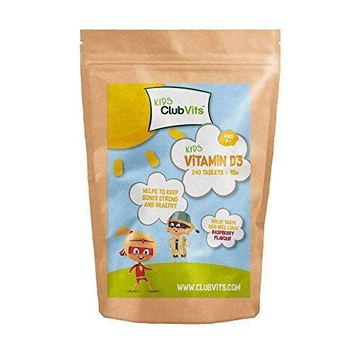 Club Vits Kids - Vitamin D3 10ug - 240 Chewable Natural Raspberry Flavour Tablets