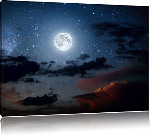 Leuchtender Mond am Nachthimmel, Format: 80x60 auf Leinwand, XXL riesige Bilder fertig gerahmt mit Keilrahmen, Kunstdruck auf Wandbild mit Rahmen, günstiger als Gemälde oder Ölbild, kein Poster oder Plakat (Reflexiones Halloween Del)