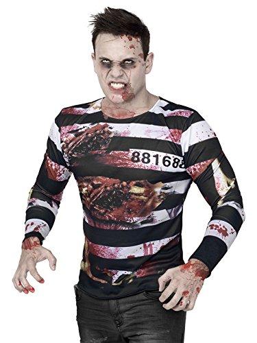 Hallween Shirt Zombie Sträfling M / L (Gefangener Kostüm Shirt)