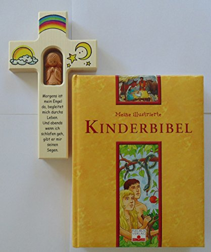 Christshop Kinderkreuz - Geschenk-Set - Schutzengelkreuz Begleiter und Kinderbibel