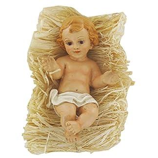 Gesù Bambino con culla in paglia per presepe da 14 cm