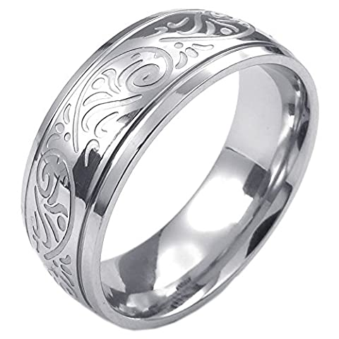Konov Jewellery Mens Womens Stainless Steel Ring, Engraved Florentine Design Charm 8mm Band, Color Silver, Size V (with Gift Bag)