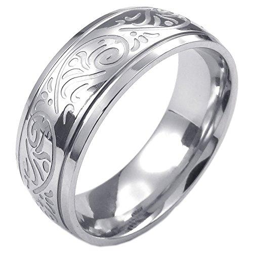 Schmuck Herren-Ring, Damen-Ring, Edelstahl, Retro Gravur Blume, Silber - Gr. 54