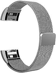 Fintie Fitbit Charge 2 Armband - Milanaise Edelstahl Wrist Band Strap Watchband Uhrband Uhrenarmband Ersatzarmbänder mit Magnet-Verschluss und Metallschließe für Fitbit Charge 2 Smartwatch, Silber
