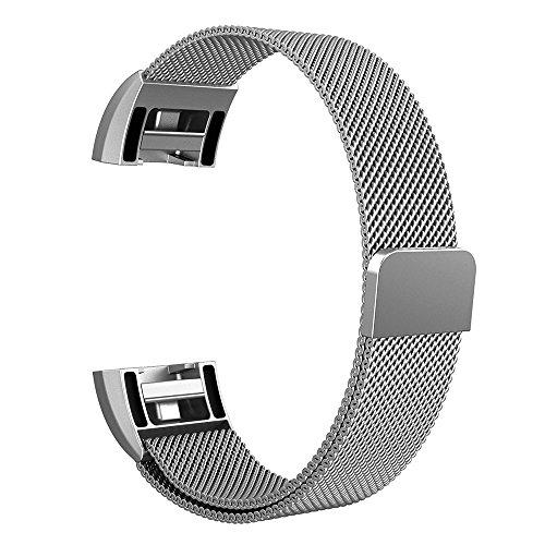 Silber Sport Armband (Fintie Fitbit Charge 2 Armband - Milanaise Edelstahl Wrist Band Strap Watchband Uhrband Uhrenarmband Ersatzarmbänder mit Magnet-Verschluss und Metallschließe für Fitbit Charge 2 Smartwatch, Silber)