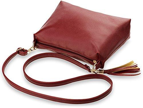 elegante formschöne Damentasche Schultertasche mit Fransen - Anhänger (orange) orange