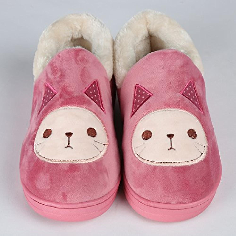 Y-Hui Super Soft Zapatillas casa piso caliente amantes zapatos zapatillas de algodón,Thirty-Seven,Rosa roja