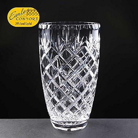 Earle Consort 22,86 (9 cm-Vaso A forma di barile, in cristallo al piombo tagliato un regalo perfetto per un'occasione speciale