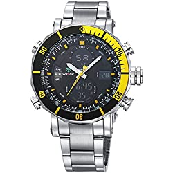 Alienwork DualTime Analogue-Digital Watch Chronograph LCD Wristwatch Multi-function Metal black silver OS.WH-5203G-05