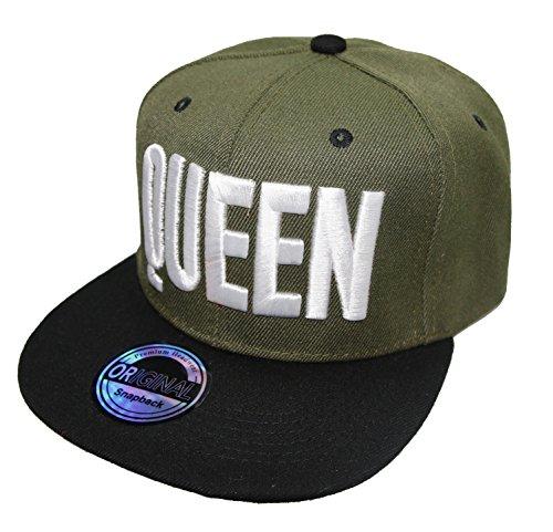 *Snapback Cap Caps Herren Damen King Queen (Queen olive)*