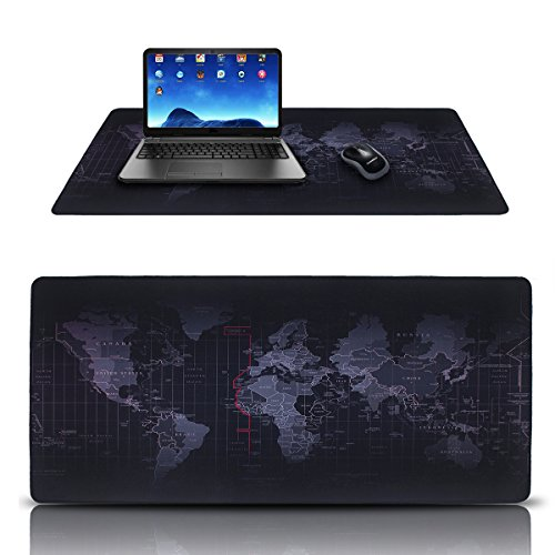 Alfombrillas de ratón,DaSinKo gaming mouse pad XXL(900 x 400mm),impermeable,base de caucho,Negro