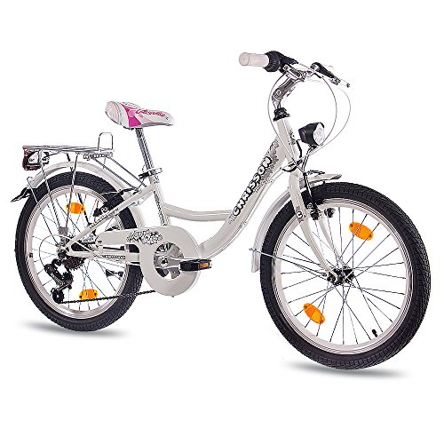 "20"" Zoll CITY BIKE KINDERRAD MÄDCHENFAHRRAD CHRISSON RELAXIA 2.0 mit 6 Gang SHIMANO StVZO weiss"