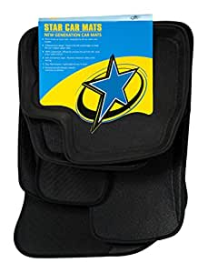 Star Car Mats Atlas 3D Floor Mat for Hyundai Grand i10/Xcent, Nissan Micra, Renault Pulse (Black, Full Set)