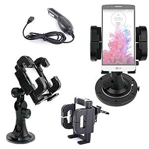Support fixation voiture pour smartphone / téléphone Xiaomi mi4, LG G3S, Orange Pixi 2 double SIM, Boulanger essentielb Facily Phone et Smart Teen + Chargeur