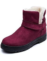 Damen Norma Maschinenwaschbar Klettverschluss Stiefel Hausschuhe Breit E/EE Armatur, Rot - Wein - Größe: 39