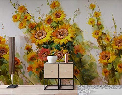 Fototapete 3D Tapeten Wandbilder Sun Bouquet Ölgemälde Kunst Größe Tapete