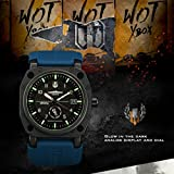 INFANTRY® Herren Analoges Quarzwerk Armbanduhr Datum Day Blau Gummi Armband World of Tanks - 3