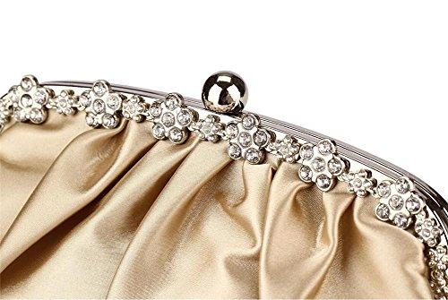 Damen Taschen Clutch Kleid Abend Party Hochzeit Schulter Handtasche Satin Rüschen Multi-Color apricot