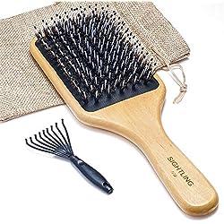 SIGHTLING Brosse à cheveux de soies de sanglier et bambou large Antistatique Confortable et durable Massage Avec coussinet