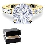Goldring Verlobungsringe Gold vergoldet **Silber hochwertig vergoldet** Zirkonia Stein + LUXUSETUI! Goldring Ring Zirkonia wie Diamant Ringe Heiratsantrag Hochzeit Verlobung AM289 VGGGZIFAZIFA56
