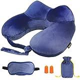 Almohada inflable de viaje,MORECOO Kit de viaje, Almohada Perfecta para viaje ,siesta y resto