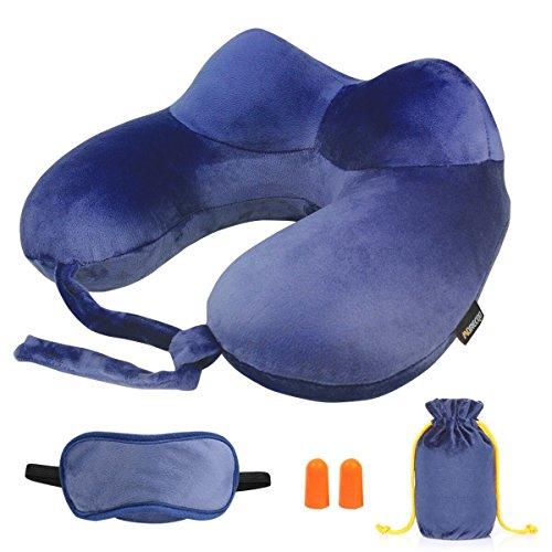 Almohada inflable de viaje,MORECOO Kit de viaje, Almohada Perfecta para viaje ,siesta y resto (Azul oscuro)