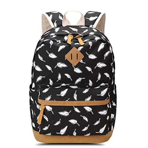 Winnerbag weiblichen Feder Drucken Rucksack Schultasche für Jugendliche Laptop Tasche reisen Canvas Rucksack Damen Rucksack Schwarz (Reise-tasche Von Vera Bradley)