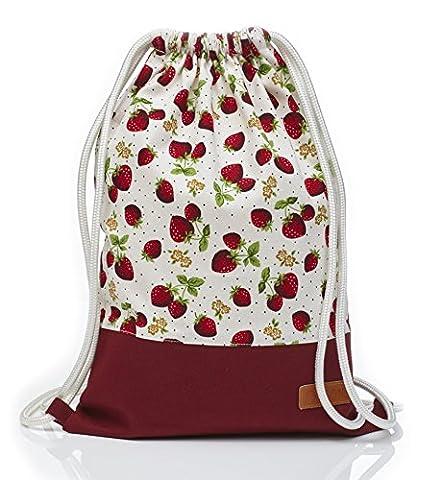 Tasche Turnbeutel Rucksack Sportbeutel Gym Bag Gymsack Hipster Fashion (Strawberry)