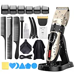 Idea Regalo - Tagliacapelli Uomo, OUDEKAY Professionale Tagliacapelli IPX7 Impermeabile USB Ricaricabile LED Display e Trimmer per Barba Multiplo 21 set Kit Taglio Capelli con Ricarica Dock-2000mAh Batteria