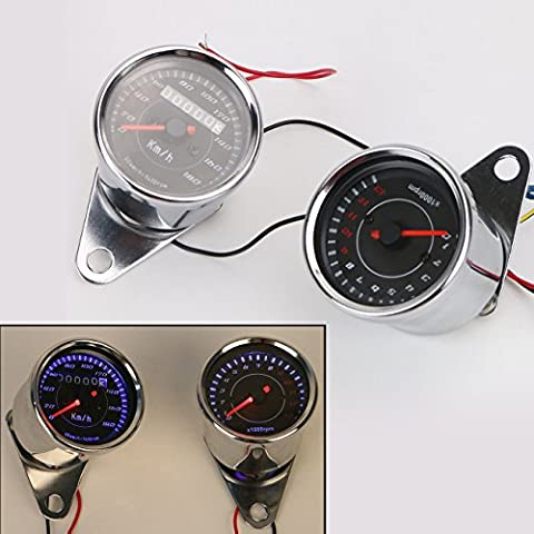 Aochuang universel Moto Compteur de vitesse Odomètre tachymètre Speedo Mètre LED pour Honda Harley Kawasaki Suzuki Yamaha