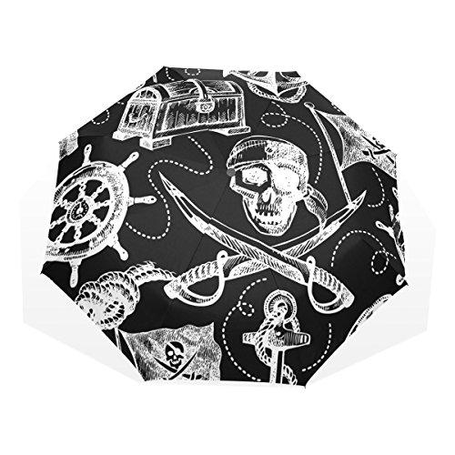 GUKENQ - Paraguas de Viaje con diseño de Calavera Pirata, Paraguas Ligero y antirayos UV, para Hombre, Mujer, niños, Resistente al Viento, Plegable, Paraguas Compacto