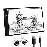 NONZERS A4 LED Leuchttisch Tragbare Leuchtplatte Touch-Steuerung Einstellbare Helligkeit Licht Pad Lichtkasten mit USB Kable für Kopieren Zeichnen Animation Skizzieren Röntgenbildbetrachtung