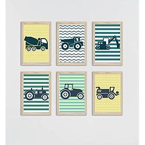 6 Traktor und Baumaschinen-Plakate, für Kinder, gestreift, Knaben-Deko, Kinderzimmer, Knaben-Geschenk