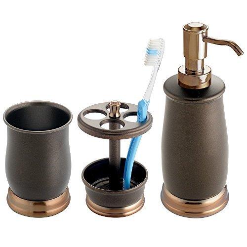 mDesign stilvolles 3er-Set Badaccessoires – Bad-Accessoires-Set, bestehend aus Seifenspender, Zahnbürstenhalter und Zahnputzbecher – Badezimmer Set aus Metall – bronze
