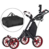 CaddyTek One-Click Folding 4 Wheel Version 3 Golf Push Cart-Red with storage bag